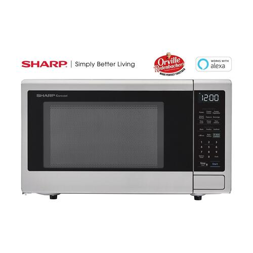1.4 cu. ft. 1000W Sharp Stainless Steel Smart Carousel Countertop Microwave Oven
