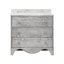 "Bath Vanity With White Marble Top In Grey Cerused Oak With Nickel Hardware Features: - White Porcelain Sink Included - Optional White Carrara Marble Backsplash Included - for Use With 8"" Widespread Faucet (not Included) - Two Working Drawers"