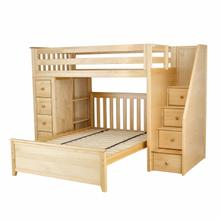 See Details - All in One Staircase Loft Bed Storage + Full Bed Natural