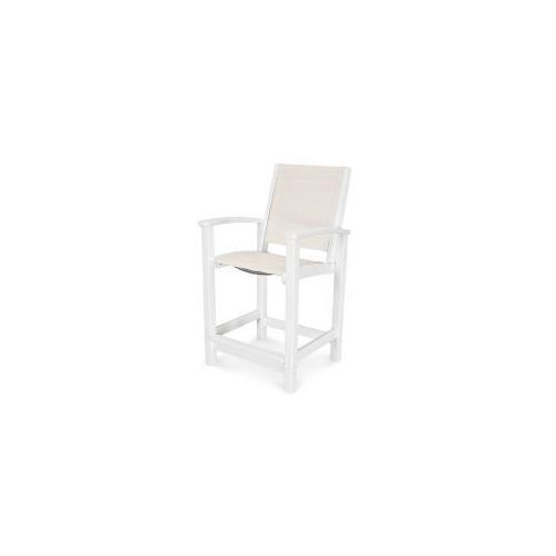 Polywood Furnishings - Coastal Counter Chair in Vintage White / Parchment Sling