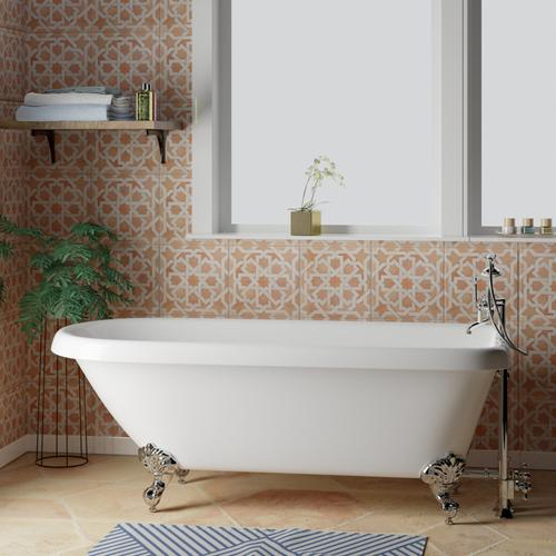 """Barclay - Beaumont 70"""" Acryic Roll Top Tub - No Drillings / Brushed Nickel"""