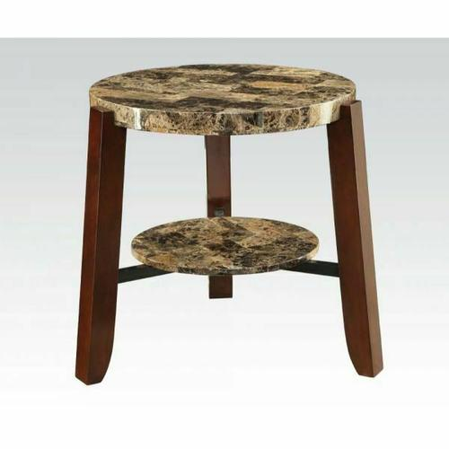 Acme Furniture Inc - ACME Lilith End Table - 80958 - Faux Marble & Cherry