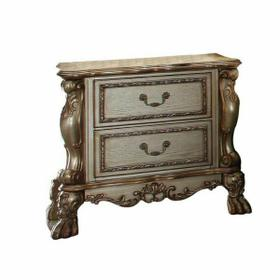 ACME Dresden Nightstand - 23163 - Gold Patina & Bone