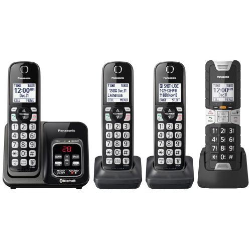 Link2Cell Bluetooth® Cordless Phone with Voice Assist and Answering Machine - 3 Standard Handsets + 1 Rugged Handset