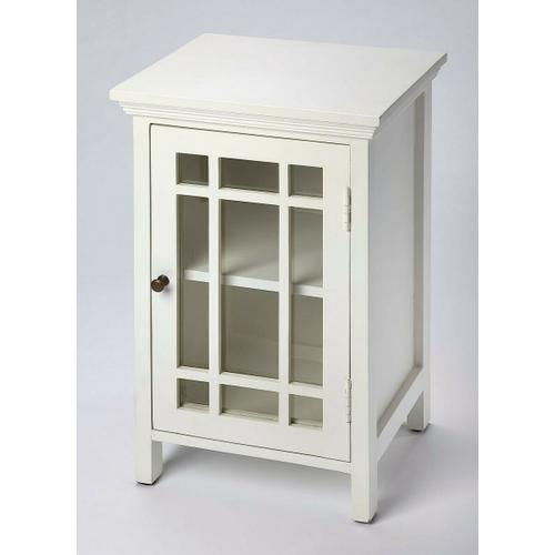Butler Specialty Company - Packing fashion as well as function, this stylish Chairside Table features a nine-panel glass door; contemporary fretwork, white finish, a gleaming brass-finished door pull that opens to a convenient storage space with a shelf. Crafted in Mango wood solids and Antique finish hardware: this style is a functional go to for your storage needs.
