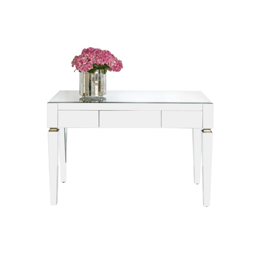 Stylish and Preppy, Our Three Drawer Jacklyn Desk Is Just What You've Been Looking for To Complete Your Home Office or Studio. Beveled Mirror Details Make Jacklyn A Bona Fide Jewelry Piece. Mounted Drawer Glides Provide for Easy Closure, Making This Desk Both Practical and Sophisticated.