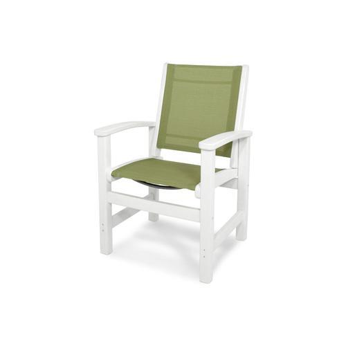 White & Kiwi Coastal Dining Chair