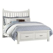 Queen Slat Poster Bed with Storage Footboard