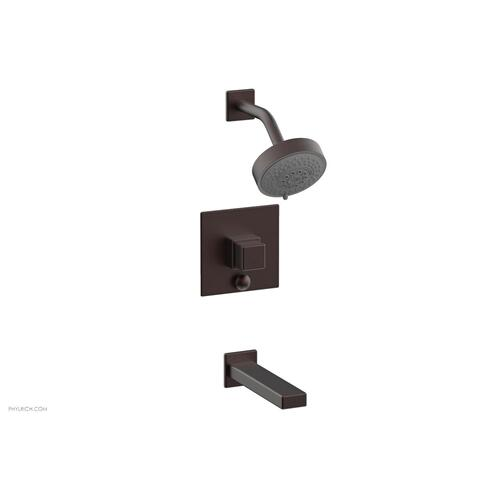 MIX Pressure Balance Tub and Shower Set - Cube Handle 290-29 - Weathered Copper