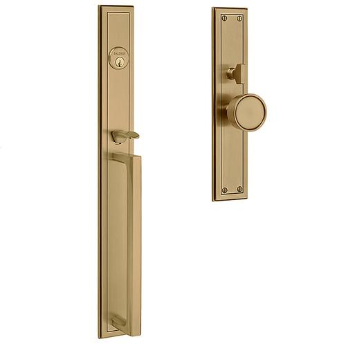 Satin Brass and Brown Hollywood Hills Mortise Handleset Trim
