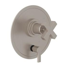 Lombardia Pressure Balance Trim with Diverter - Satin Nickel with Cross Handle