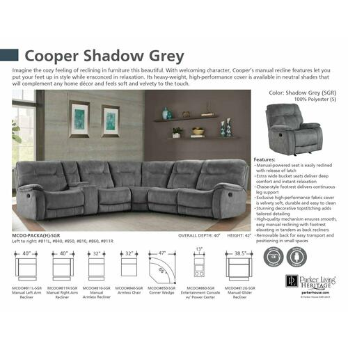 Parker House - COOPER - SHADOW GREY Manual Armless Recliner