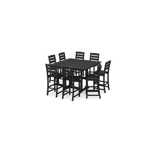 Polywood Furnishings - Lakeside 9-Piece Bar Side Chair Set in Black