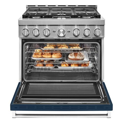 KitchenAid® 36'' Smart Commercial-Style Gas Range with 6 Burners Ink Blue