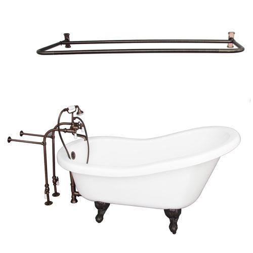 "Fillmore 60"" Acrylic Slipper Tub Kit in White - Oil Rubbed Bronze Accessories"