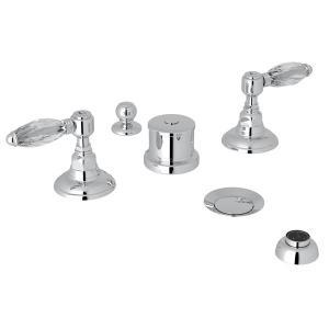 Polished Chrome Italian Bath Five Hole Bidet Faucet with Crystal Lever Product Image