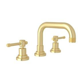 Campo U-Spout Widespread Bathroom Faucet - Satin Unlacquered Brass with Industrial Metal Lever Handle