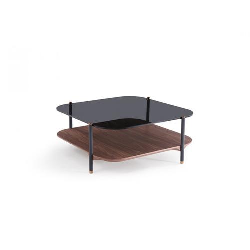 VIG Furniture - Modrest Toby Modern Smoked Glass & Walnut Coffee Table