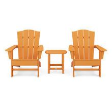 View Product - Wave 3-Piece Adirondack Chair Set with The Crest Chairs in Vintage Tangerine