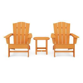 Polywood Furnishings - Wave 3-Piece Adirondack Chair Set with The Crest Chairs in Vintage Tangerine