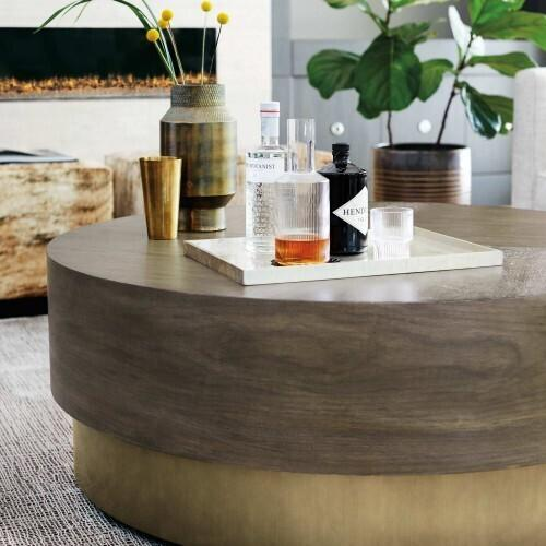 Bernhardt - Profile Round Cocktail Table in Warm Taupe (378)