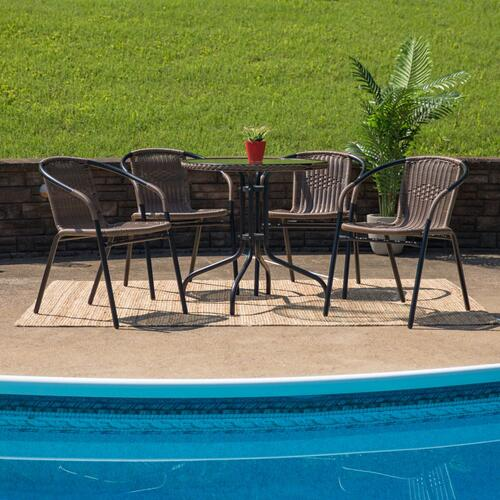 28'' Round Glass Metal Table with Dark Brown Rattan Edging and 4 Dark Brown Rattan Stack Chairs