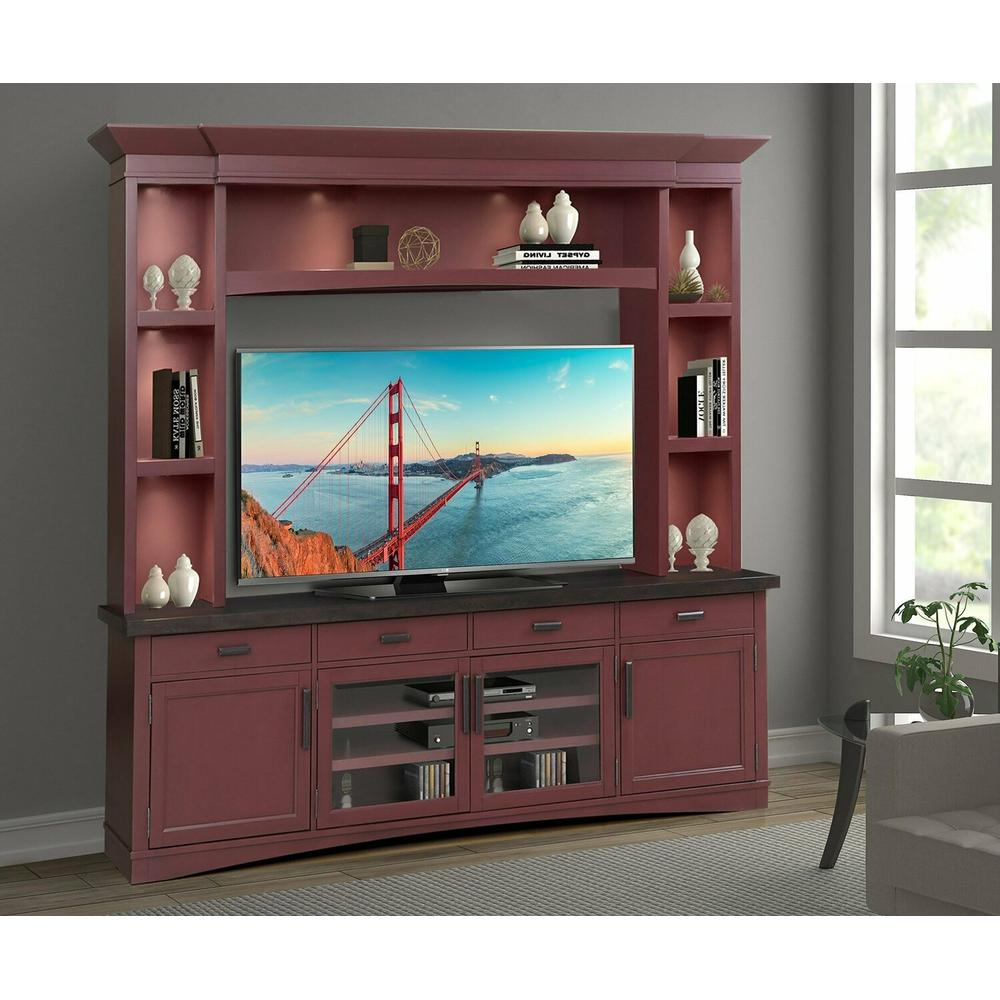 AMERICANA MODERN - CRANBERRY 92 in. TV Console with Hutch and LED Lights