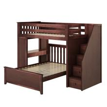 See Details - All in One Staircase Loft Bed Study + Full Bed Espresso