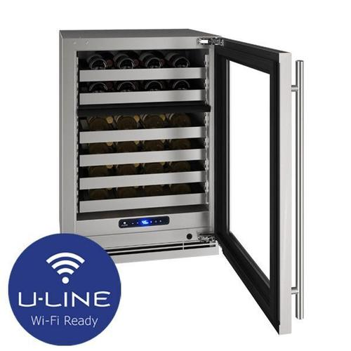 """U-Line - Hwd524 24"""" Dual-zone Wine Refrigerator With Stainless Frame Finish and Left-hand Hinge Door Swing (115 V/60 Hz Volts /60 Hz Hz)"""