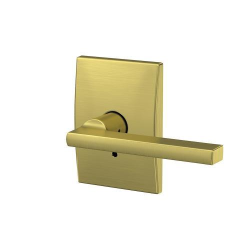 Custom Latitude Lever with Century Trim Hall-Closet and Bed-Bath Lock - Satin Brass