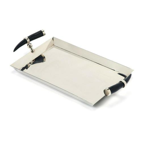 Butler Specialty Company - Serve cocktails and hors d'oeuvres at your next party on this rectangular stainless steel serving tray. Genuine horn handles give this modern tray a unique, stylish appearance.