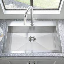 """View Product - Edgewater® 33x22"""" ADA Single Bowl Stainless Steel Kitchen Sink  American Standard - Stainless Steel"""