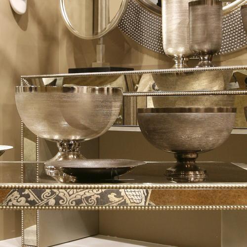 Howard Elliott - Textured Silver Metal Footed Bowl, Large