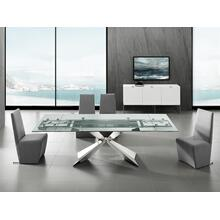 The Carrara Extendable Motorized Dining Table In Clear Glass With Polished Stainless Steel Base