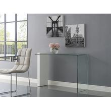 The Buono Console Table In High Gloss White Lacquer With Clear Glass