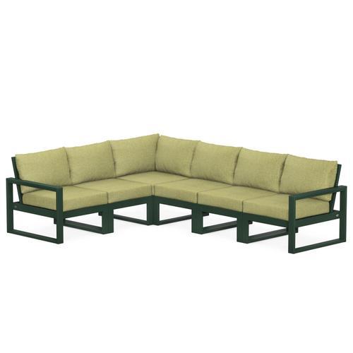Polywood Furnishings - EDGE 6-Piece Modular Deep Seating Set in Green / Chartreuse Boucle