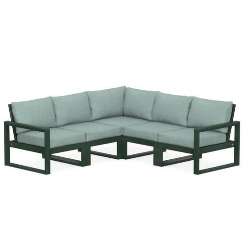 Polywood Furnishings - EDGE 5-Piece Modular Deep Seating Set in Green / Glacier Spa