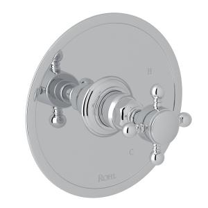 Polished Chrome Italian Bath Pressure Balance Trim Without Diverter with Cross Handle Product Image