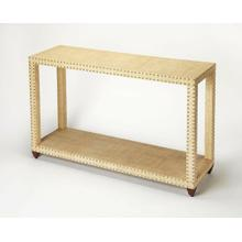 This casual chic console table is a modern interpretation of classic Parsons styling. Fully wrapped in raffia, it is lightly textured in a natural cream hue for combination with a broad array of colors and styles. Carefully crafted from mahogany wood soli