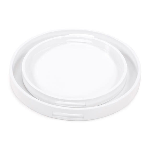 White Lacquer Round Wood Tray Set