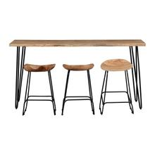Nature's Edge Natural Sofa Counter Dining Table W/ 3 Backless Stools
