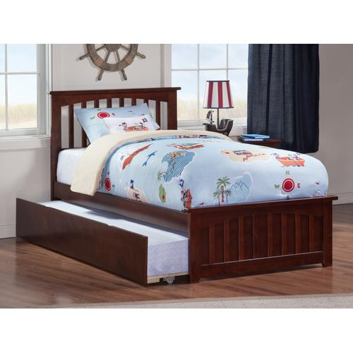 Mission Twin Bed with Matching Foot Board with Urban Trundle Bed in Walnut