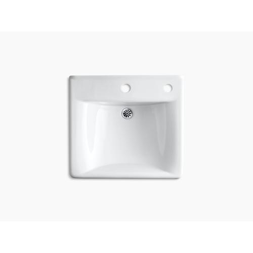 "White 20"" X 18"" Wall-mount/concealed Arm Carrier Bathroom Sink With Single Faucet Hole and Right-hand Soap Dispenser Hole"