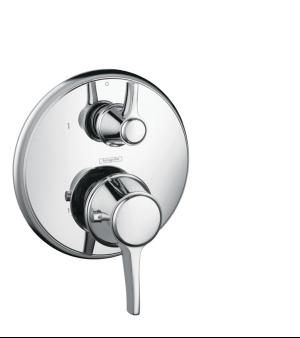 Chrome Thermostatic Trim with Volume Control and Diverter, Round Product Image