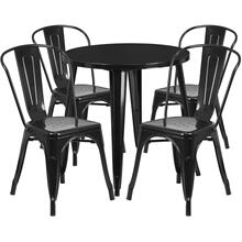 30'' Round Black Metal Indoor-Outdoor Table Set with 4 Cafe Chairs