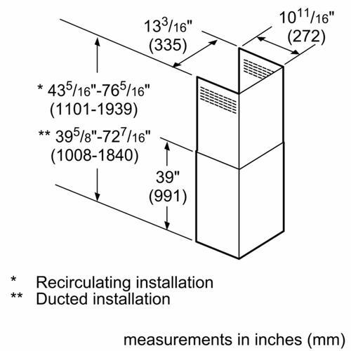 Bosch - Chimney Extension for all Chimney Wall Hoods