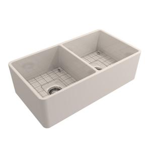 Langley Double Bowl Fireclay Farmer Sink - Bisque Product Image