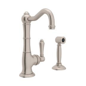 Cinquanta Single Hole Column Spout Kitchen Faucet with Sidespray - Satin Nickel with Metal Lever Handle