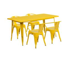 31.5'' x 63'' Rectangular Yellow Metal Indoor-Outdoor Table Set with 4 Arm Chairs