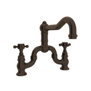 Tuscan Brass Acqui Deck Mount Column Spout Bridge Kitchen Faucet with Cross Handle